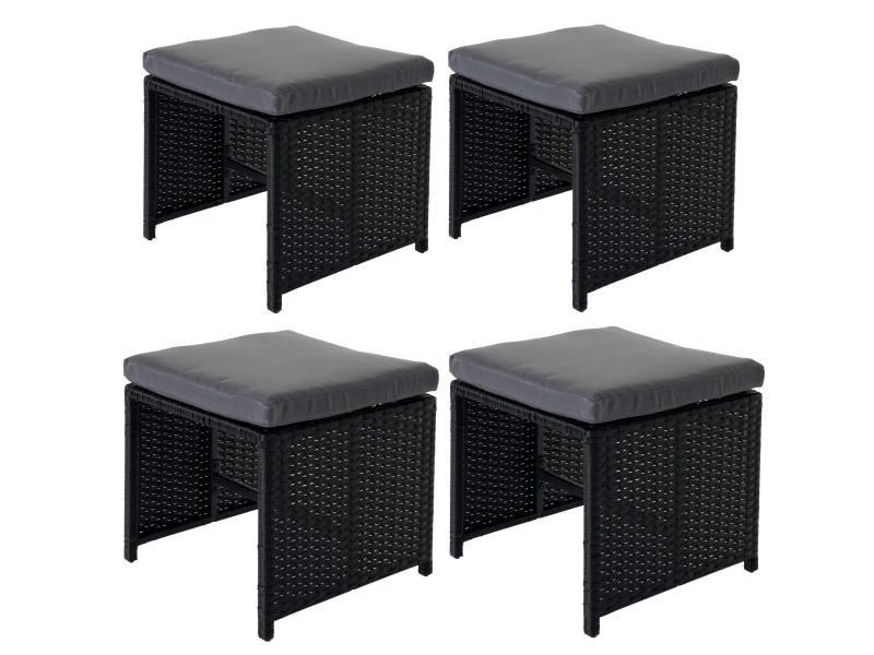 4x tabouret en polyrotin kreta set lounge de jardin, 36x40cm noir, coussin gris