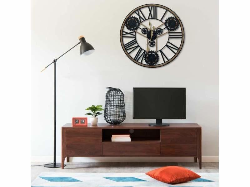 Horloge murale noir 80 cm métal dec022230