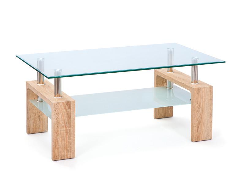 Table basse loana moderne plateau verre et décor chêne