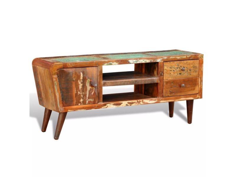 Icaverne - meubles audio/vidéo et pour home cinéma collection meuble tv vintage multicolore 1 porte et 2 tiroirs