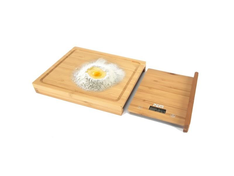 Balance culinaire + planche à découper en bamboo - 28 cm - ecran lcd - pem sc-280