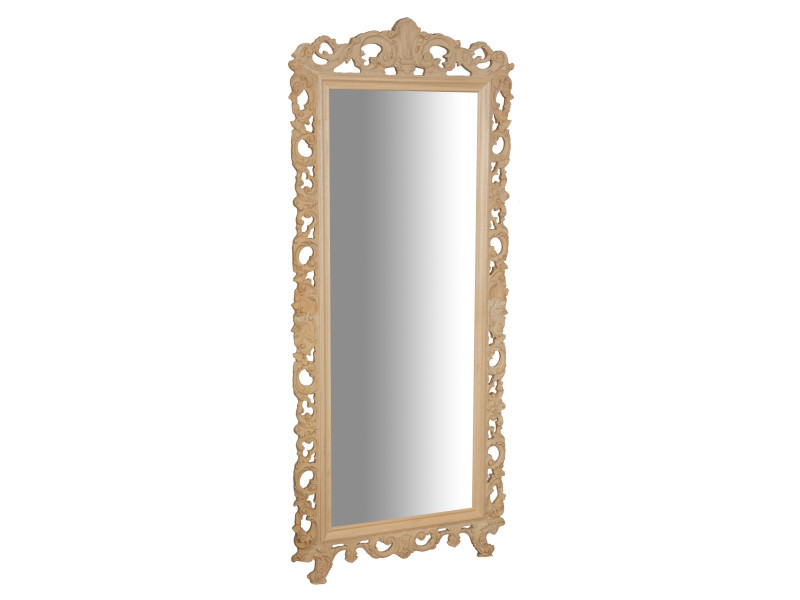 Miroir, long miroir mural rectangulaire, à accrocher au mur, horizontal et vertical, shabby chic, salle de bain, chambre à coucher, cadre finition brute, grand, long, l82xp4xh191 cm. Style shabby chic.