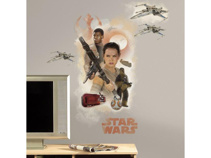 Stickers géant star wars rey & finn
