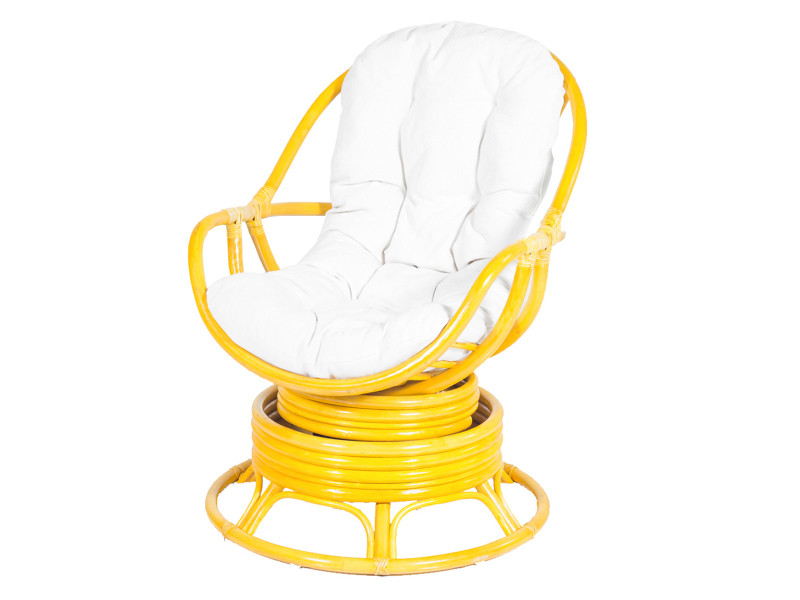 Soldes Fauteuil Pivotant En Rotin Java Jaune Rotin Design - Fauteuil jaune solde
