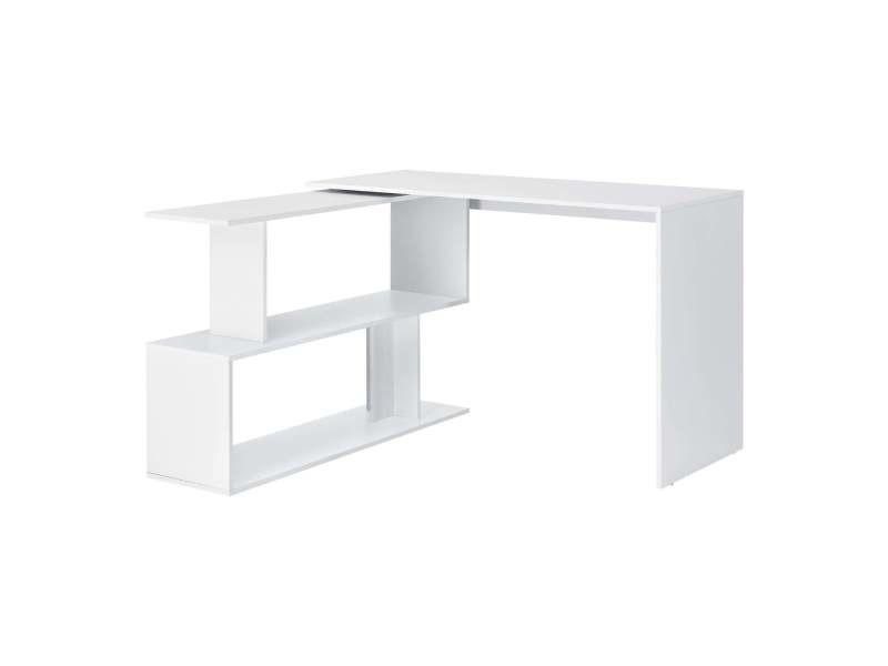 Bureau gigogne design avec partie étagère bureau de coin extension panneau de particules mélaminé 77 x 120 x 50 cm blanc helloshop26 03_0004707