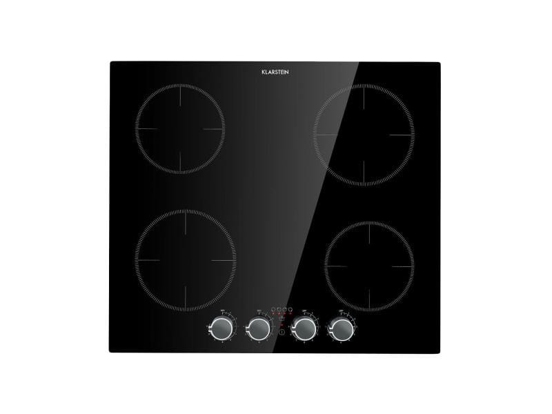 Klarstein kochheld table de cuisson à induction encastrable , 4 zones , 6000w , 9 niveaux d`intensité , verre noir CP13-Kochheld-4