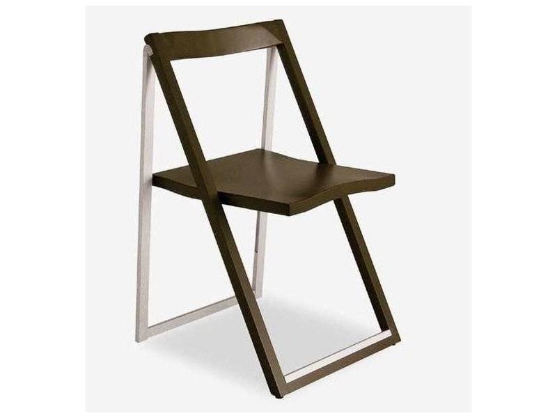 Chaise pliante skip wengé et aluminium satiné 20100839836