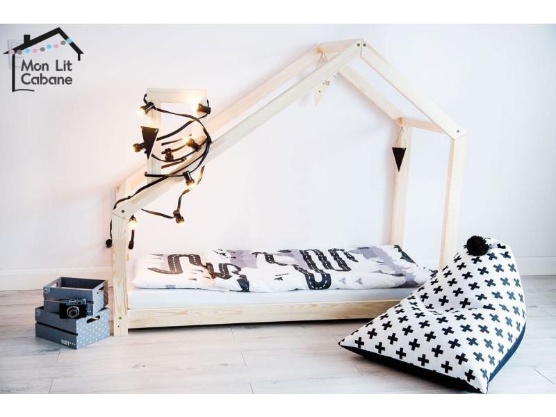 lit cabane gl bois massif sommier 160x200 vente de. Black Bedroom Furniture Sets. Home Design Ideas