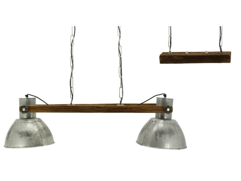 Suspension en bois recyclé et métal