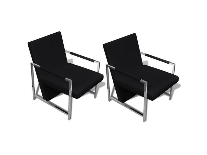 Icaverne - fauteuils club, fauteuils inclinables et chauffeuses lits selection fauteuil 2 pcs avec cadre chromé cuir synthétique noir