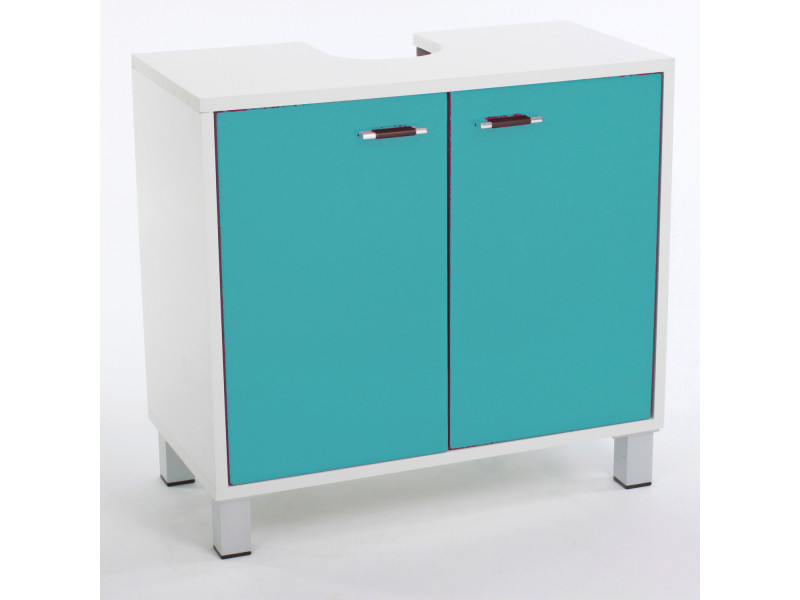 meuble dessous de lavabo l 56 x l 60 cm turquoise vente de armoire colonne tag re. Black Bedroom Furniture Sets. Home Design Ideas