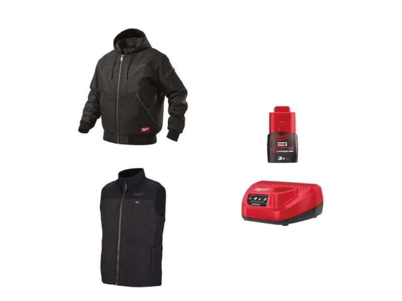Pack milwaukee taille m - blouson noir à capuche wgjhbl - veste chauffante sans manche hbwp - chargeur de batterie 12v m12 c12 c- batterie m12 3.0 ah PackVestesChauffantesTailleM
