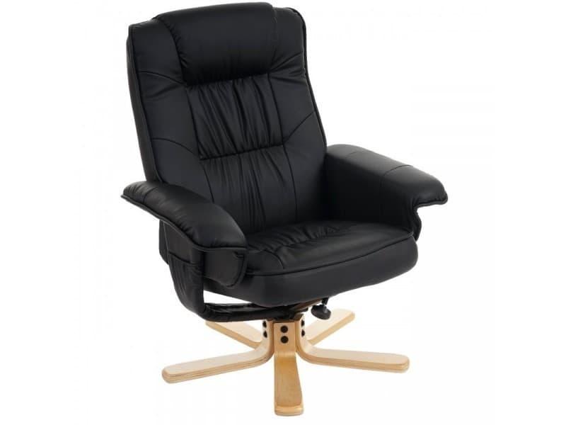 fauteuil relax en simili cuir noir pied en bois si ge. Black Bedroom Furniture Sets. Home Design Ideas