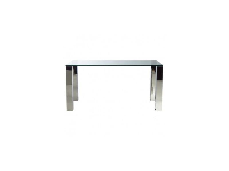 Table à manger 160 cm verre et chrome tower