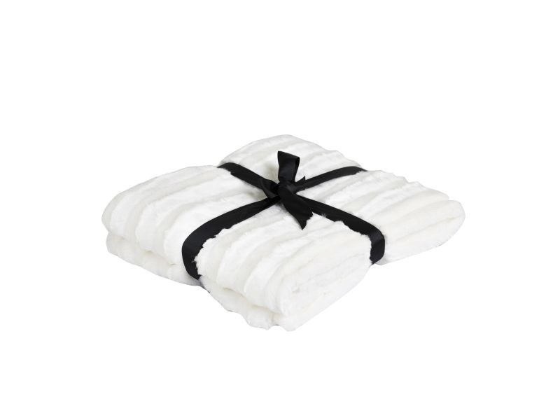 Plaid 130 x 180 cm fausse fourrure blanc - blanc/blanc - blanc/blanc FF-PLAID/UNI/PARENT