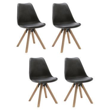 Duhome lot de 4 chaises de salle à manger en plastique et