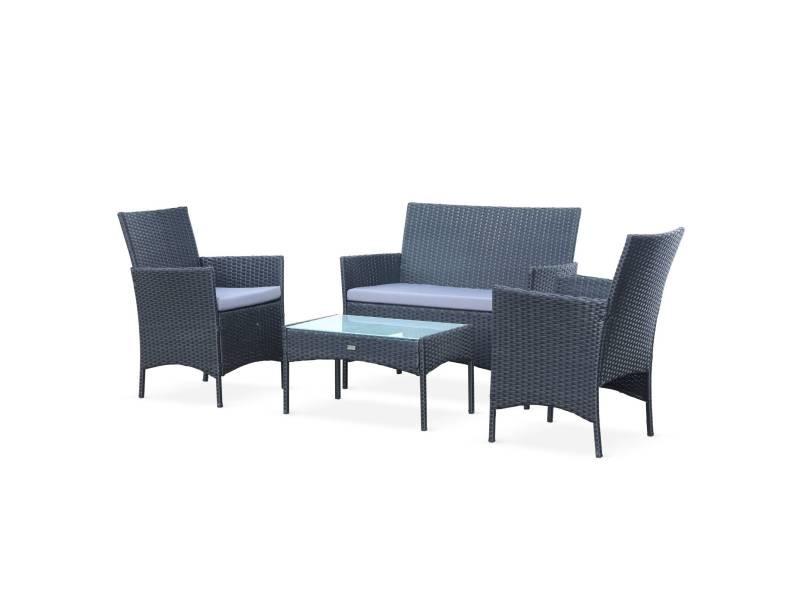 ensemble de jardin en r sine tress e salon 4 places. Black Bedroom Furniture Sets. Home Design Ideas