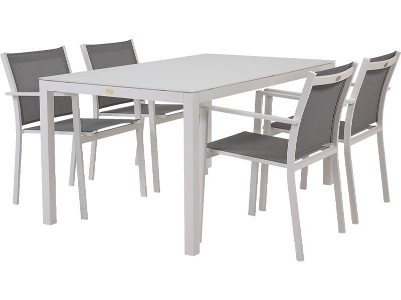 Soldes: -41% salon de jardin pour le repas treves gris et blanc - 4 ...