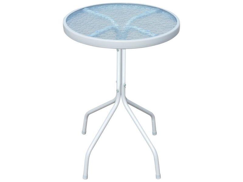 Chic meubles de jardin selection rabat table d'extérieur ronde 50 x 71 cm acier gris