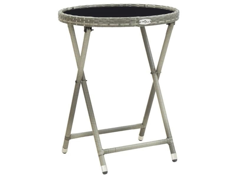 Splendide mobilier de jardin categorie sofia table à thé gris 60 cm résine tressée et verre trempé
