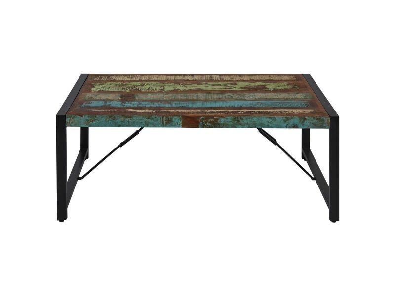 Kali - table basse bois recyclé et métal noir