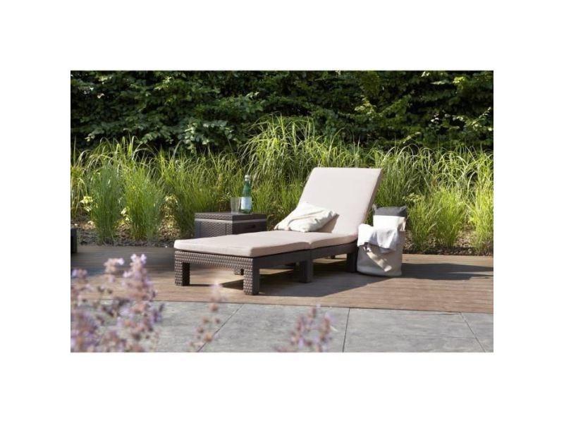 Chaise longue - transat - bain de soleil allibert bain de soleil daytona imitation résine tressée - marron