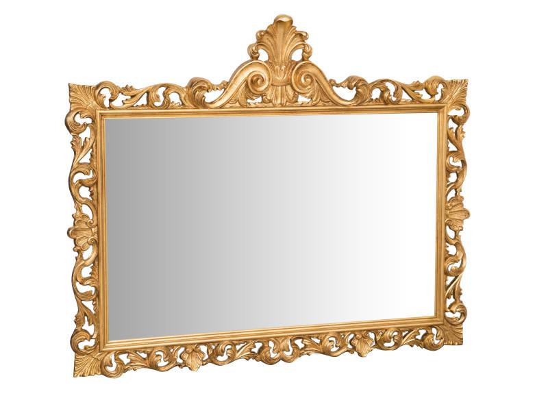 Miroir, long miroir mural rectangulaire, à accrocher au mur, horizontal et vertical, shabby chic, salle de bain, chambre, cadre finition or antique, grand, long, l150xp8xh125 cm. Style shabby chic.