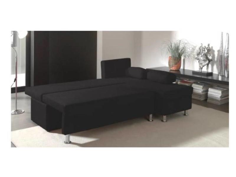 canap d 39 angle convertible rapido zaurak en microfibre noire 20100865678 conforama. Black Bedroom Furniture Sets. Home Design Ideas