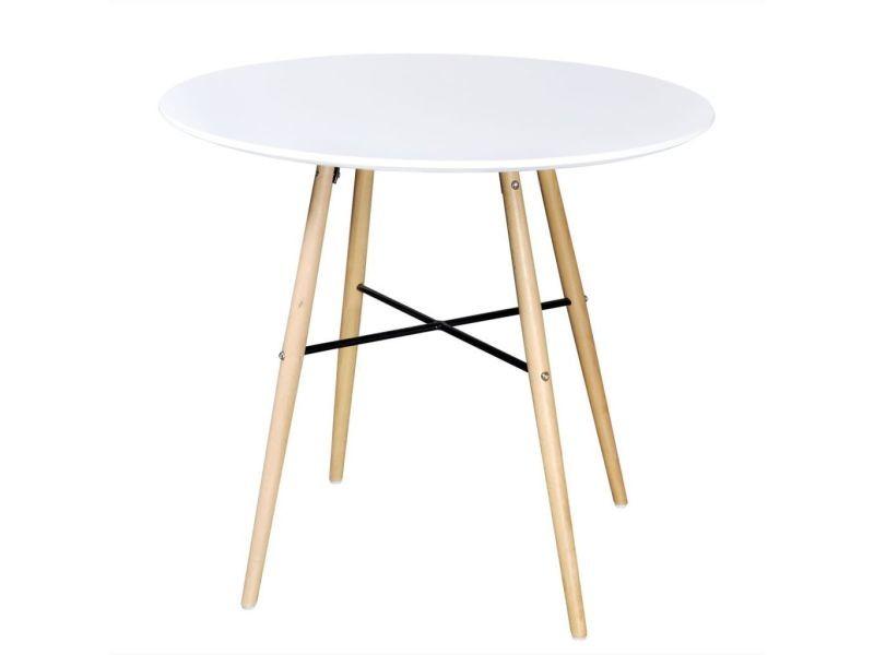 Table de salon salle à manger dîner design ronde mdf blanc helloshop26 0902256