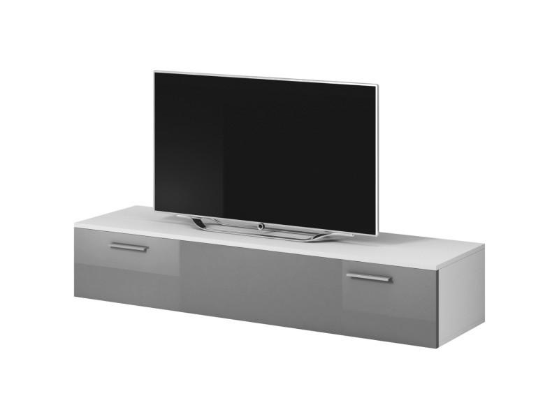 """E-com - Meuble TV """"Boston"""" - 150 cm - blanc / gris TVU107150WGHG"""