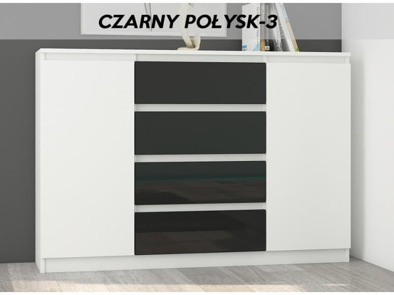 Porto w3 | commode contemporaine meuble rangement chambre/salon | 140x40x98 cm | 4 tiroirs | finition laquée | buffet séjour | blanc/noir gloss