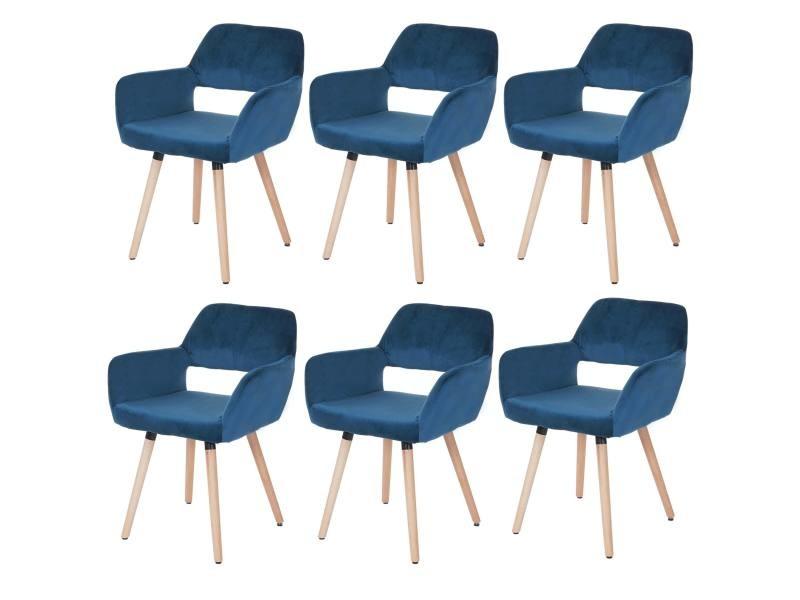 6x Chaise De Salle A Manger Hwc A50 Ii Retro Velours Bleu