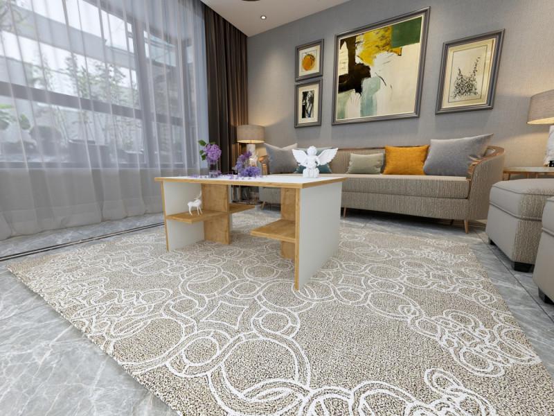 Table Basse Design Notchorta Blanc Et Motif Bois Chene Vieilli