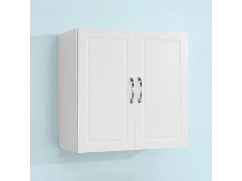 9e1690d0dadc1c Salle de bain suspendue placard commode murale – 2 portes - blanc frg231-w  sobuy