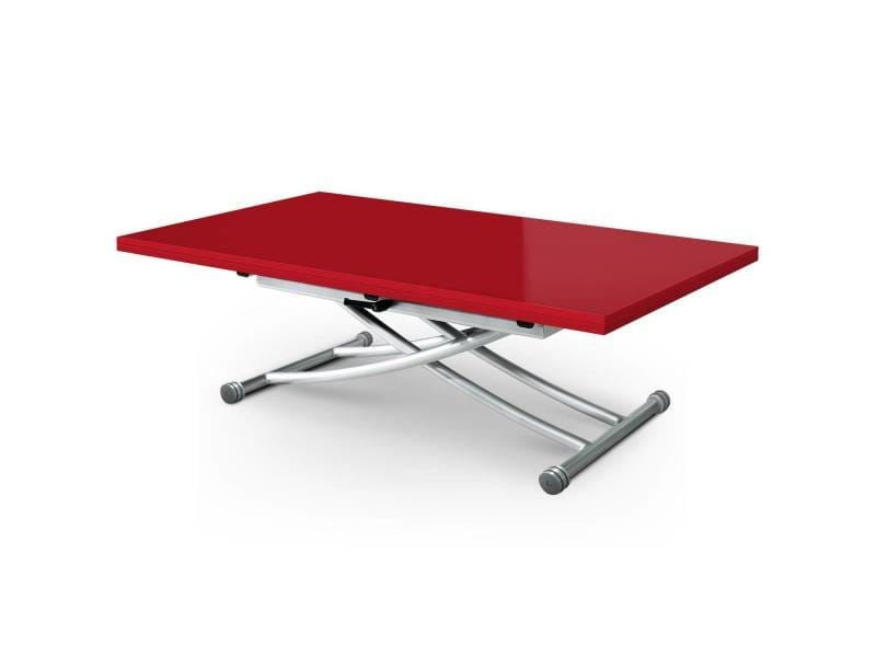 Table basse relevable carrera xl rouge laqué