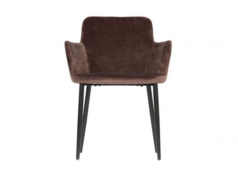 Chaise coloris taupe foncé en velours polyester - dim: 81 x 61 x 59 cm -pegane-