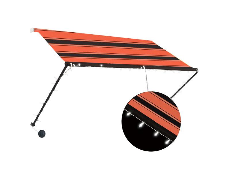 Vidaxl auvent rétractable avec led 250x150 cm orange et marron 145931