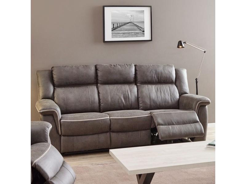 Canapé 3 places relax électrique tissu - tonya - l 211 x l 91 x h 102 - neuf