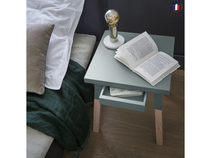 2 chevets laqués, 1 tiroir en frêne 35x35 cm bleu gris lehon - 100% fabrication française