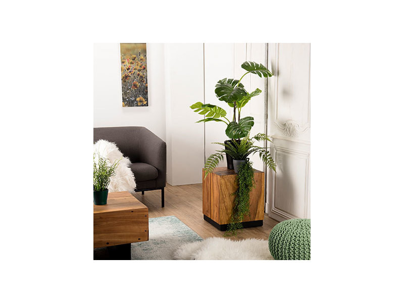 Table d'appoint bois carrée 38x38cm bois suar