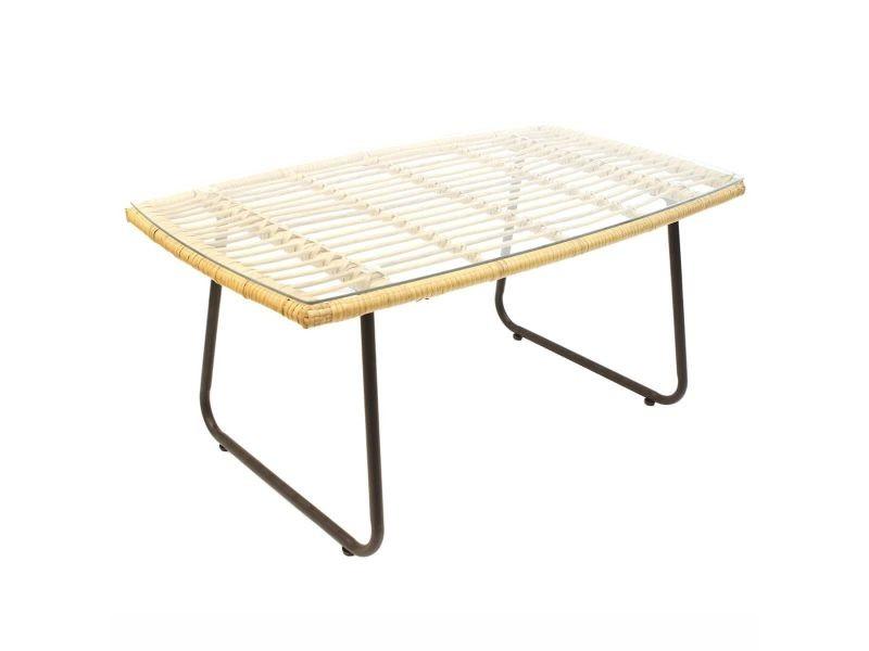 Kediri - table basse rectangulaire plateau verre