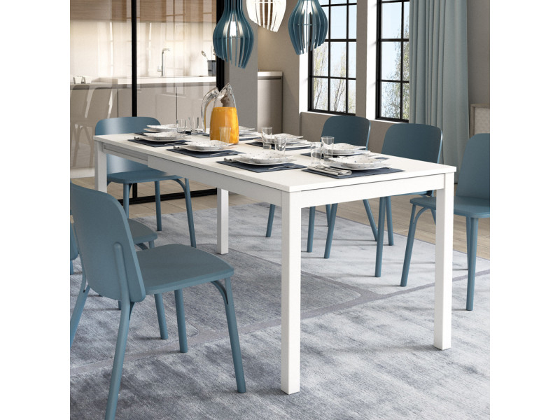 Table extensible - alberto - 120(180)x80 cm - blanc