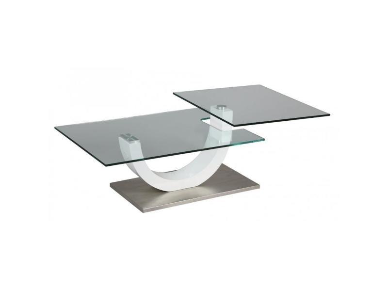 Table basse knock en verre transparent plateaux pivotants 20100841559