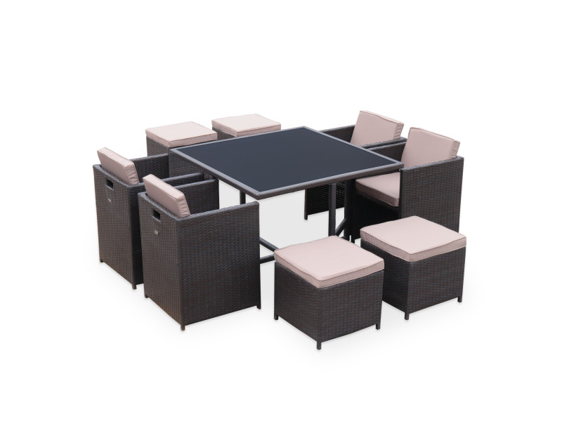 Salon de jardin vasto chocolat table en résine tressée 4 à 8 ...