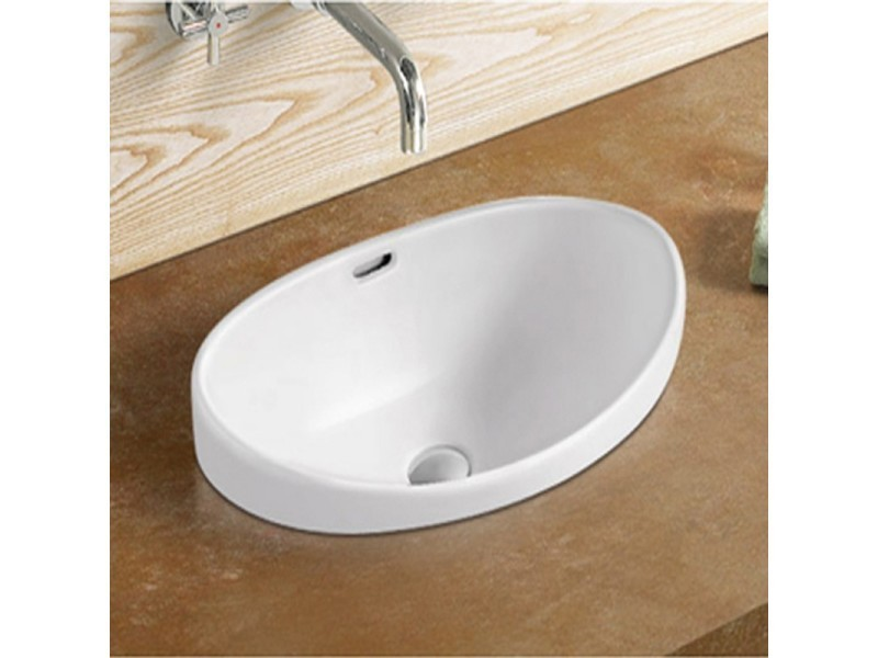 vasque semi encastrable ovale c ramique 60x38 cm soft. Black Bedroom Furniture Sets. Home Design Ideas