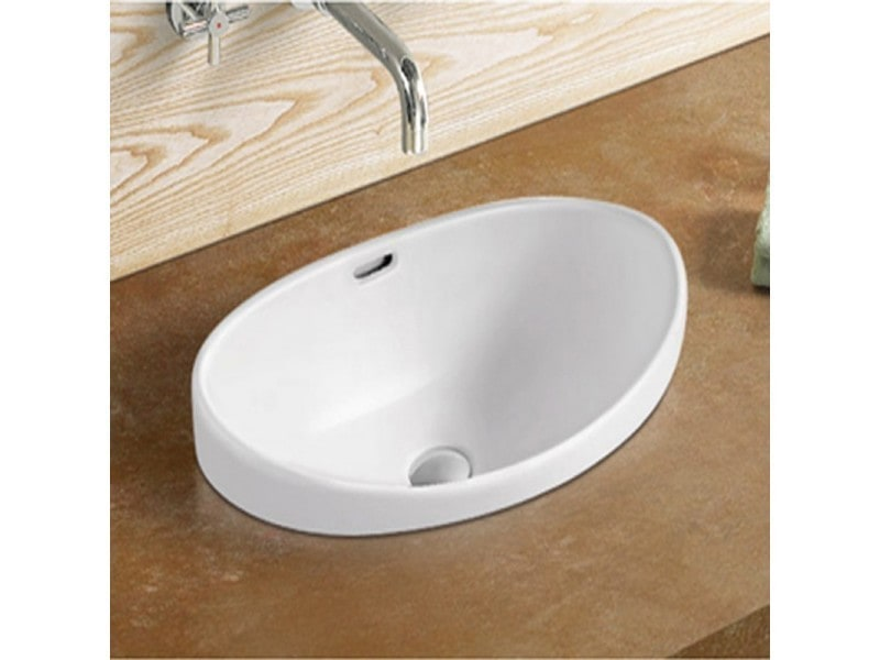 vasque semi encastrable ovale c ramique 60x38 cm soft vente de rue du bain conforama. Black Bedroom Furniture Sets. Home Design Ideas