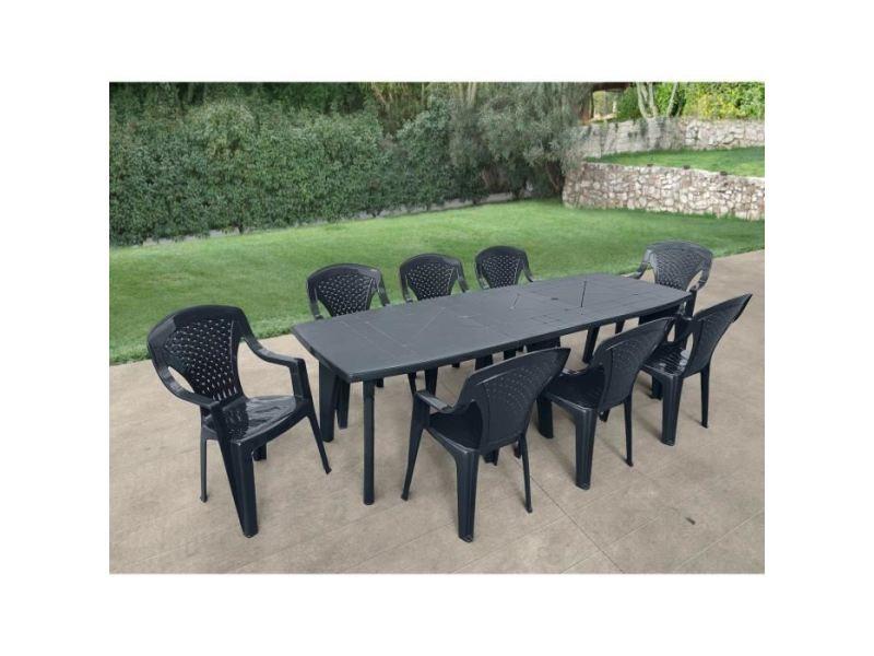 Table de jardin vendue seule table de jardin avec rallonge lipari 2 - 8 a 10 places - 250 x 90 x 72, 8 cm - gris anthracite