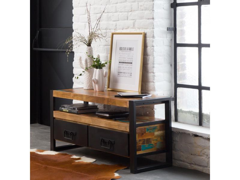 meuble tv industriel 2 tiroirs bois et m tal mox11. Black Bedroom Furniture Sets. Home Design Ideas