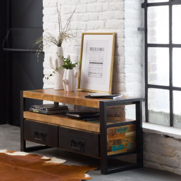 meuble tv industriel 2 tiroirs bois et m tal mox11 vente de meuble tv conforama. Black Bedroom Furniture Sets. Home Design Ideas