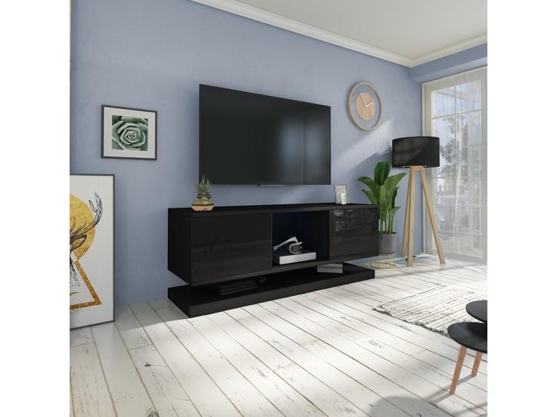 meuble tv wizz avec led 140 cm noir mat noir brillant meuble suspendu vente de meuble. Black Bedroom Furniture Sets. Home Design Ideas